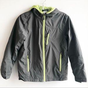 REI Boys medium gray and green hooded jacket